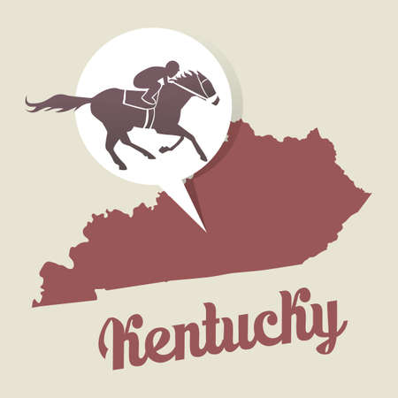 kentucky derby: Kentucky map with kentucky derby icon