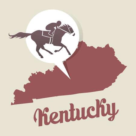 kentucky: Kentucky map with kentucky derby icon