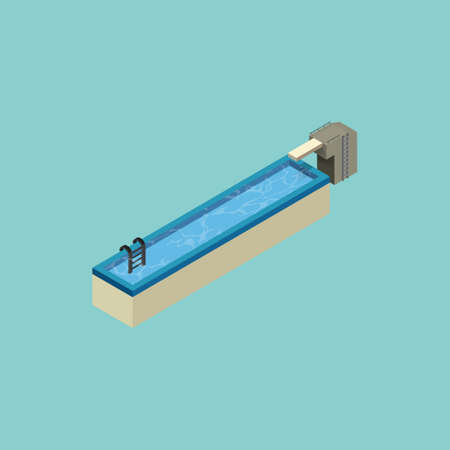 vowel: Isometric swimming pool design of alphabet I