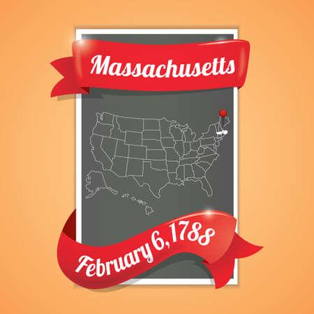 feb: Massachusetts state map poster