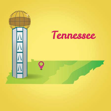 tennesse: Mapa del sur del estado de Tennessee Vectores