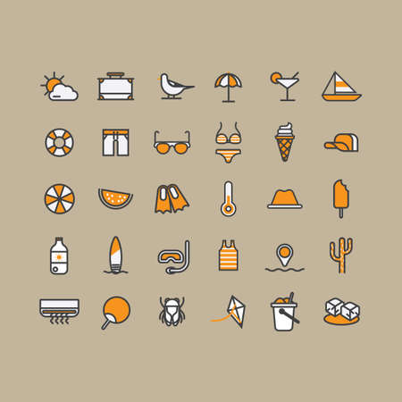 pail tank: Set of summer icons