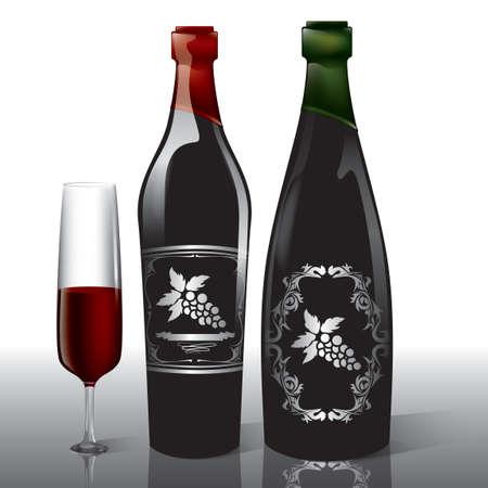 redwine: Wine bottles and glass Illustration