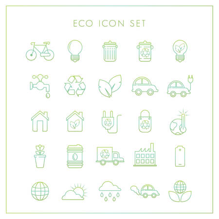 chimney pot: Set of ecology icons Illustration
