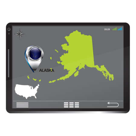 alaska map: Tablet pc with alaska map Illustration