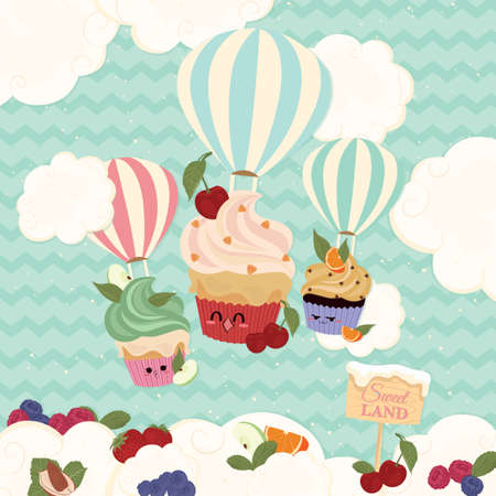 lands: Cupcakes with hot air balloons Illustration