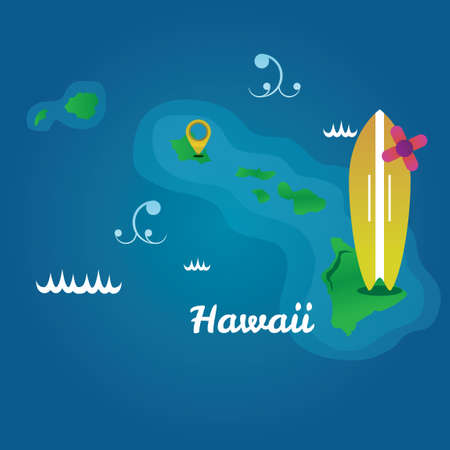 big waves: Map of hawaii state