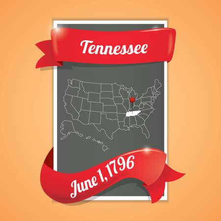 tennessee: Tennessee state map poster Illustration