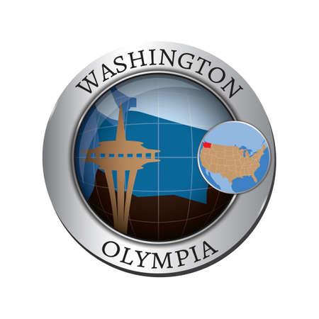 seattle skyline: Washington state with seattle skyline badge