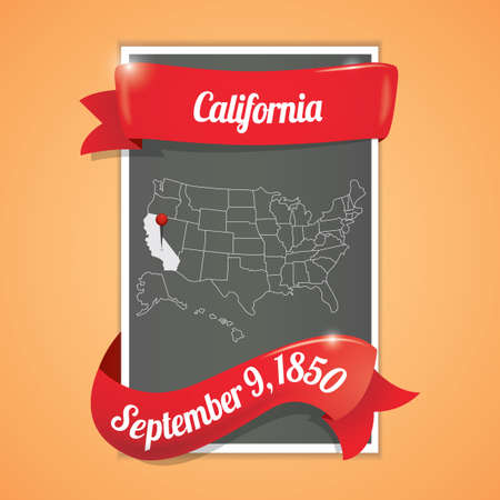 california state: California state map poster Illustration
