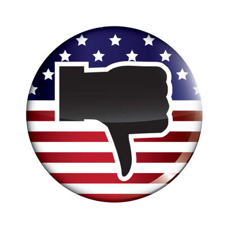 disapprove: USA election badge with thumbs down Illustration