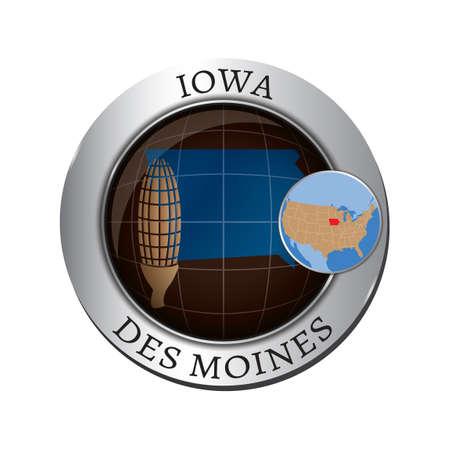 iowa: Iowa state with corn badge Illustration