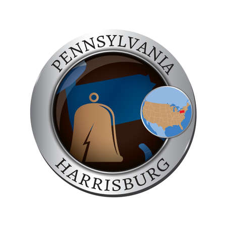 pennsylvania: Pennsylvania state with bell badge Illustration