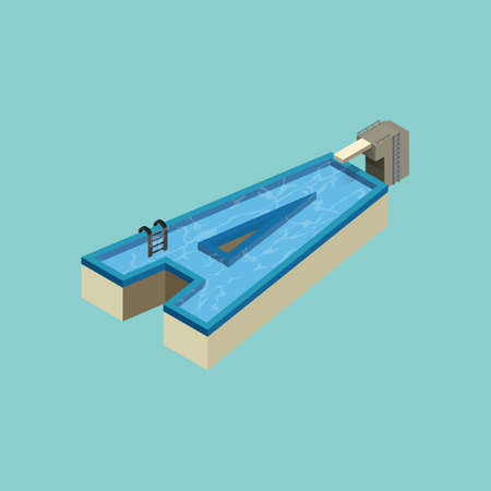 vowel: Isometric swimming pool design of alphabet A