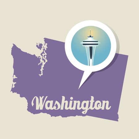 space needle: Washington map with space needle icon Illustration