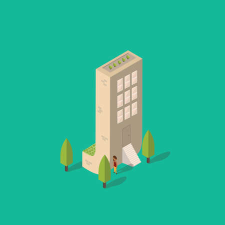 plant stand: Isometric building with alphabet J