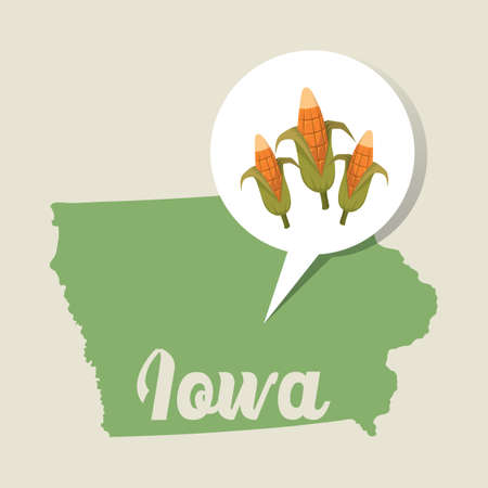 corn field: Iowa map with corn field icon Illustration