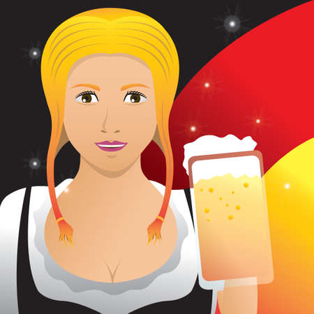 bavarian girl: Bavarian girl with beer mug poster