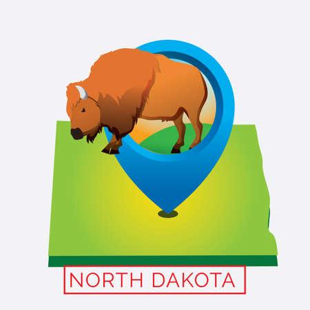 largest: Map of north dakota state