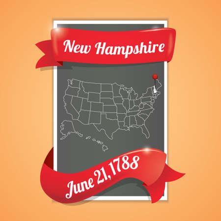ochenta: Nueva Hampshire mapa cartel estado Vectores