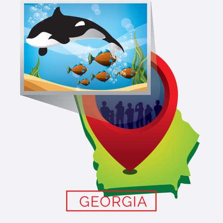 georgia: Map of georgia state Illustration