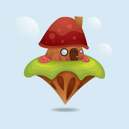 floating island: Floating island with mushroom house
