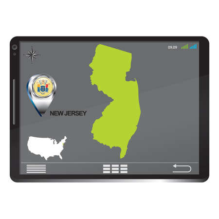 new jersey: Tablet pc with new jersey map Illustration