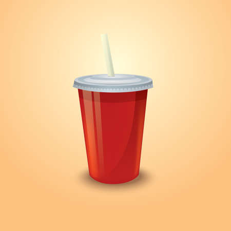 plastic straw: Takeaway cup with straw
