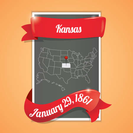twenty ninth: Kansas state map poster