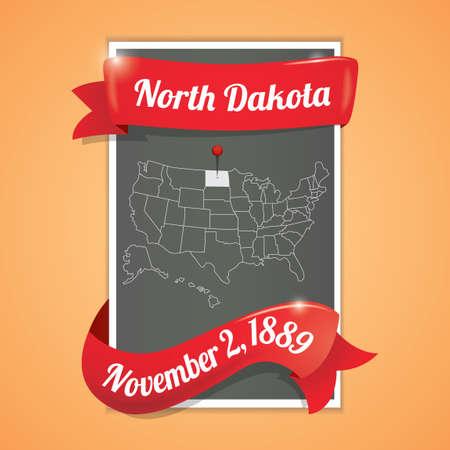 north dakota: North dakota state map poster