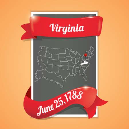 virginia: Virginia state map poster Illustration
