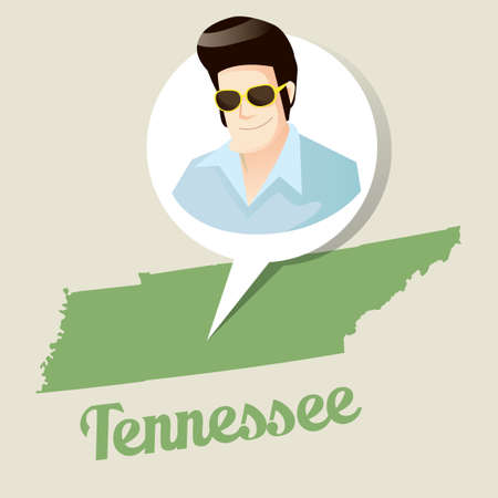 elvis presley: Tennessee map with elvis presley icon Illustration