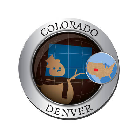 state of colorado: Colorado state with snowman badge Illustration