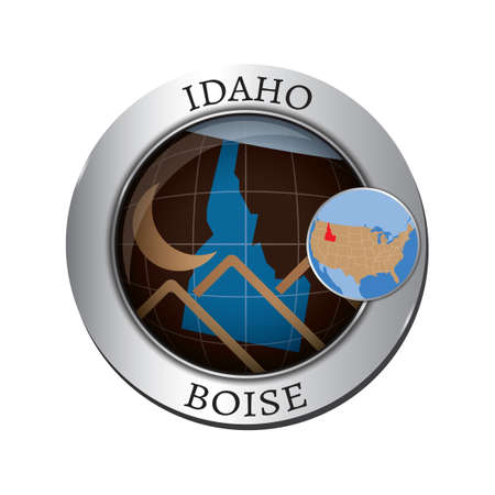 idaho state: Idaho state with mountain badge Illustration