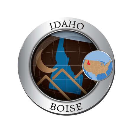 idaho: Idaho state with mountain badge Illustration
