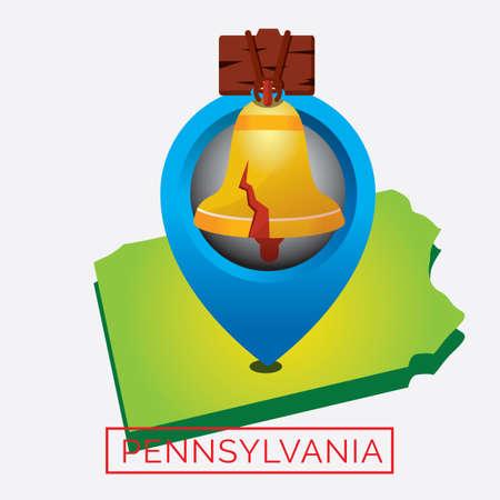pennsylvania: Map of pennsylvania state Illustration