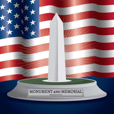 washington monument: Washington monument and memorial Illustration