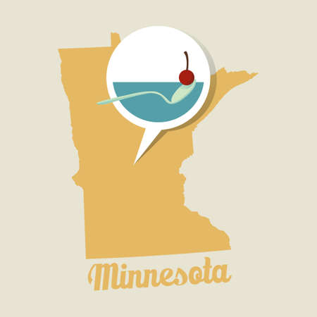 sculpture: Minnesota map with sculpture garden icon Illustration