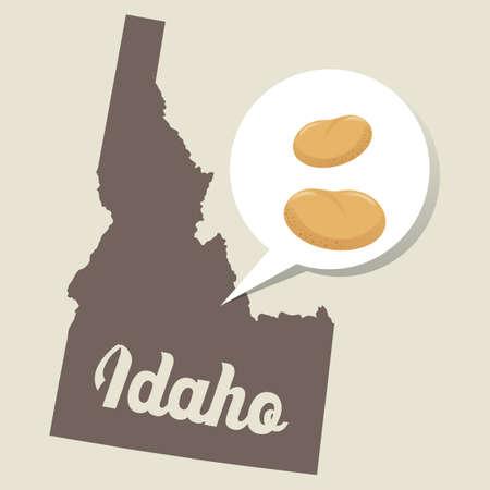 idaho: Idaho map with potato icon