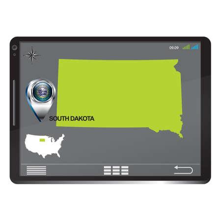 south dakota: Tablet pc with south dakota map