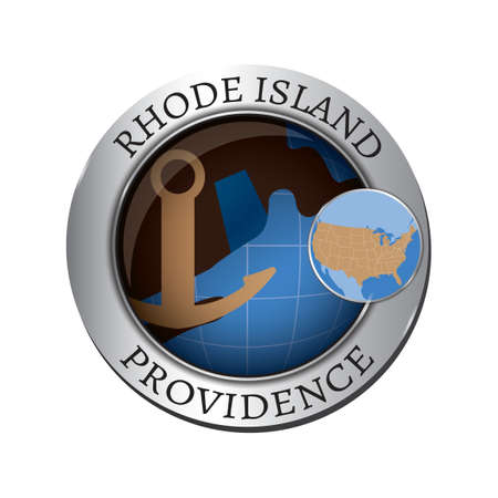 island state: Rhode island state with anchor badge Illustration
