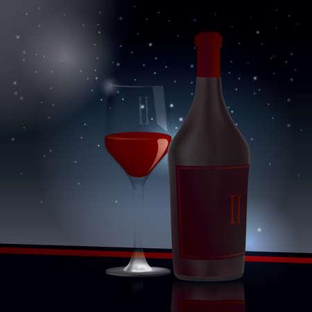 wineglass: Wineglass and wine bottle