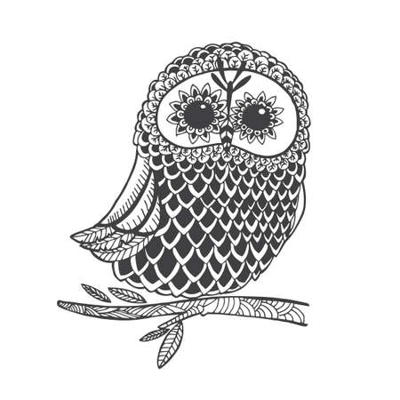 nocturnal animal: intricate owl design