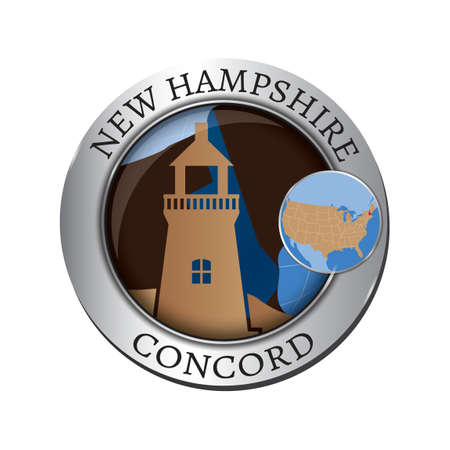 hampshire: New hampshire state with lighthouse badge