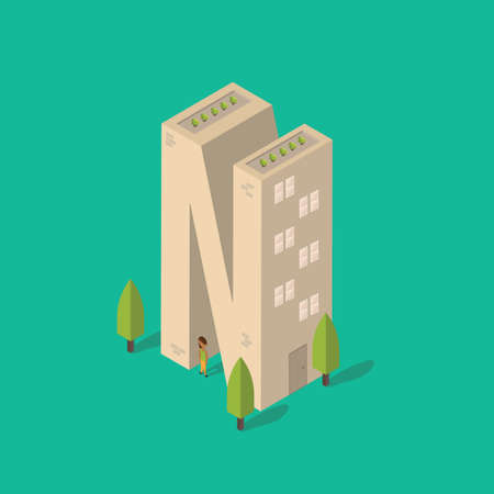 plant stand: Isometric building with alphabet N Illustration