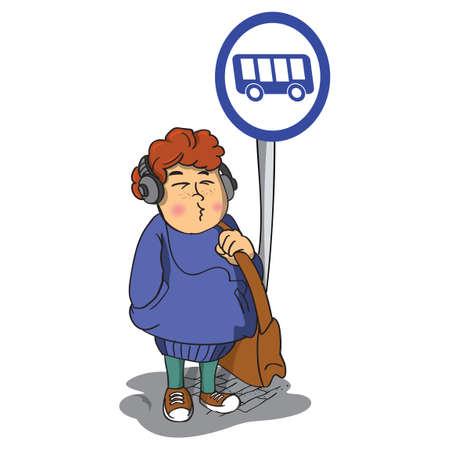 bus stop: Girl waiting at a bus stop