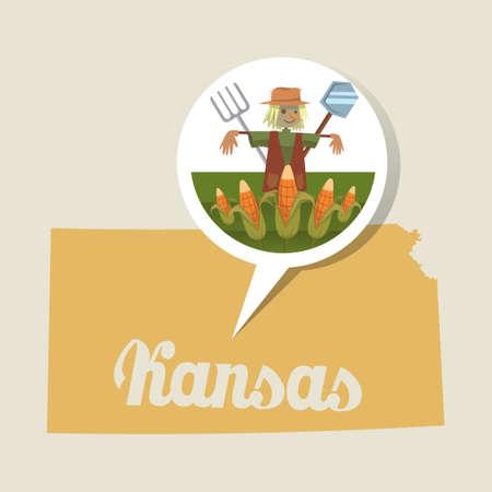 KANSAS: Kansas map with farming icon Illustration