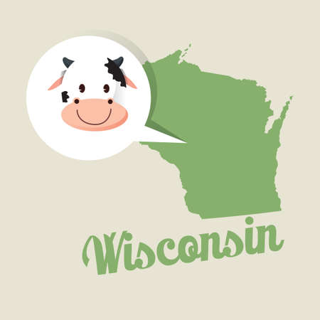 jersey cow: Wisconsin map with jersey cow icon Illustration