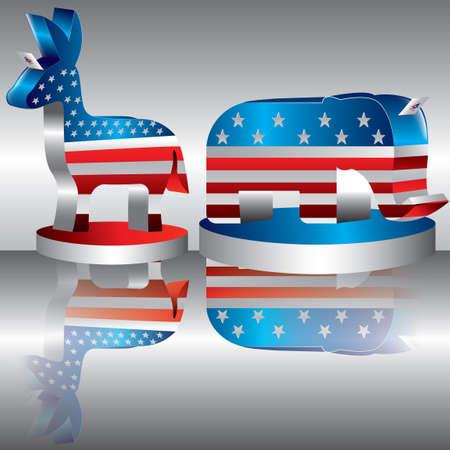 Democratic and republican party symbols Illustration