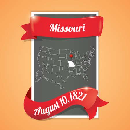 10th: Missouri state map poster Illustration